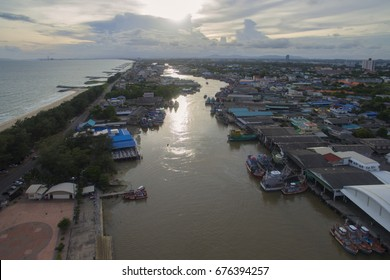 Living in a fishing village Province in Thailand Photos from Drone view