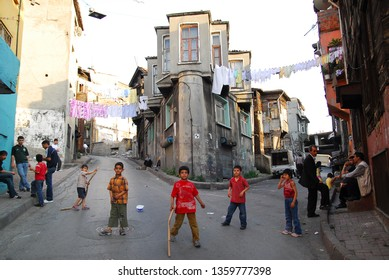 Living in the historic Fener district, children playing on the street. /Istanbul,Turkey,May 2007