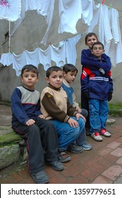 Living in the historic Fener district, children playing on the street. /Istanbul,Turkey,December 2005
