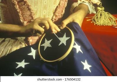 Living history reenactment of making of first American flag, Philadelphia, Pennsylvania