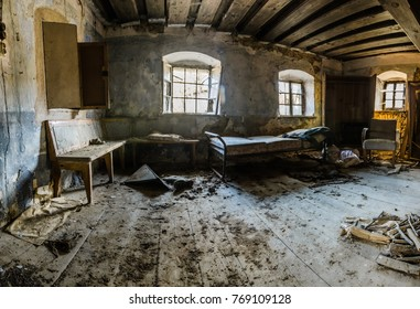 living room in abandoned farmhouse panorama view