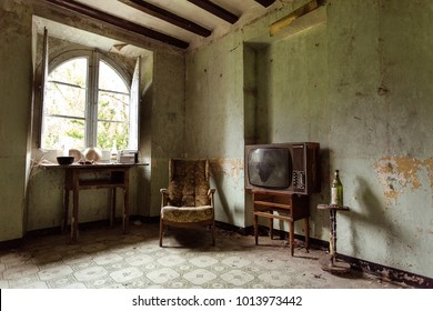 living room of an abandoned house in catalonia
