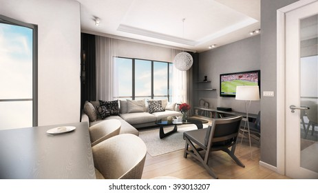Living room architecture design with all furnished