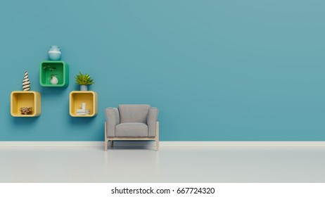 Living room with armchairs and a shelves in the room the wall blue on white  background,3D Rendering