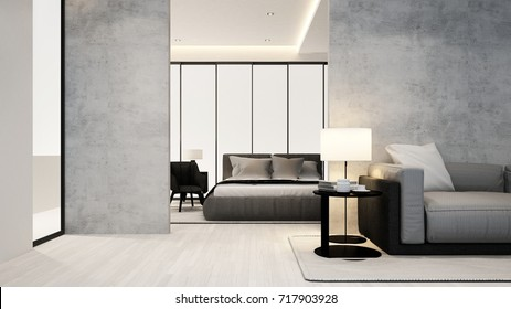 living room and bedroom in apartment or hotel - Interior design - 3D Rendering