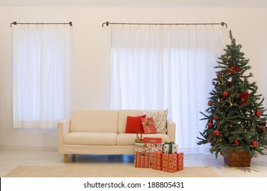 Living room with a big Christmas tree