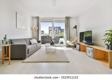 Living room with carpet, mild sofa, table, and other luxury furniture and TV set
