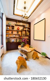 living room with Chinese style decoration