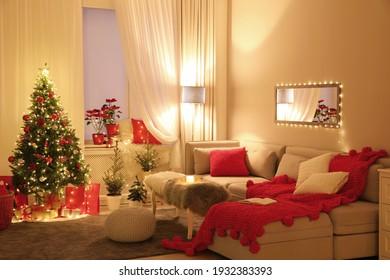Living room with Christmas decorations. Festive interior design