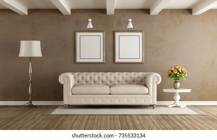 Living room in classic style with white sofa - 3d rendering