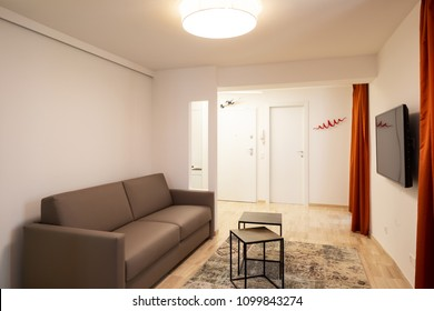 Living room with coffee table, elegant leather sofa and television. Entrance door