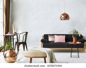 Living room and room concept with furniture decoration. Table sofa chair and home ornament decoration with window style.