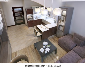 Living room contemporary style with elegant modern acrylic kitchen. White walls and mixed flooring. 3D render