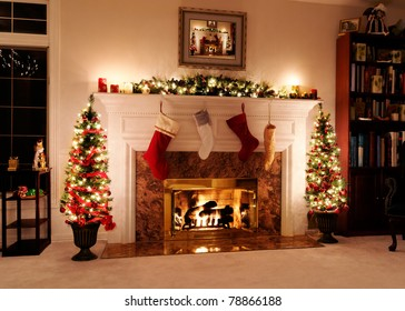 Living room decked out for the Christmas holidays