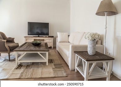living room decorated with cozy furnitures