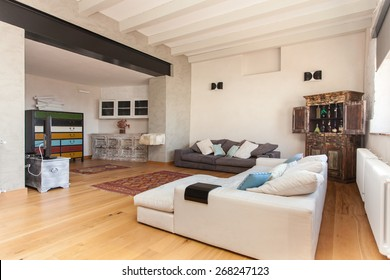 living room and dining area of a modern villa in countryside
