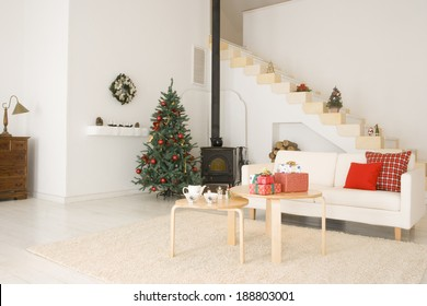 Living room during the Christmas season
