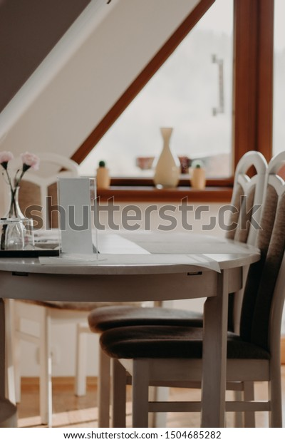 Living Room Eco House Wooden Roof Stock Photo Edit Now 1504685282