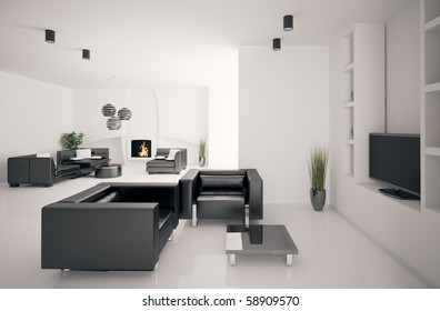 Living room with fireplace interior 3d render