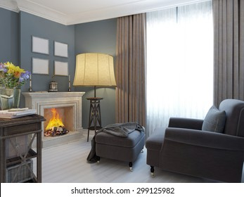 Living room with fireplace and soft armchair and ottoman. Bright interior of cozy lounge in mediterranean style. Glossy white wooden parquet floor. 3D render