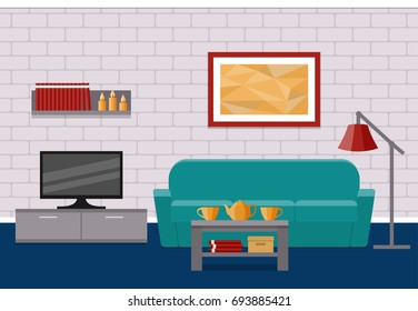 Living Room Flat Interior. Home Design With Furniture Couch, Coffee Table,  TV,