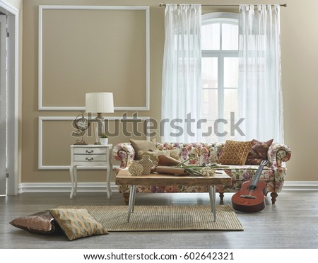 Living Room Flower Pattern Sofa With Frame Wall Decoration, Large Window  And Interior Design