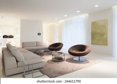 Living room furniture in modern house, horizontal