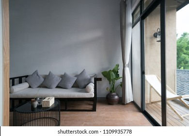 living room in hotel guest room