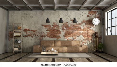 Living room in industrial style with leather sofa and brick wall - 3d rendering