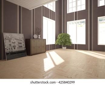 living room interior - 3d illustration