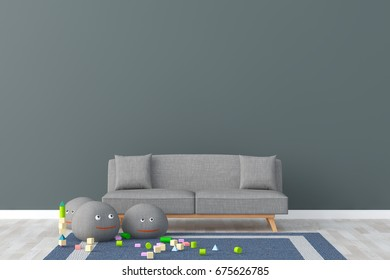 Living room interior. 3d render.