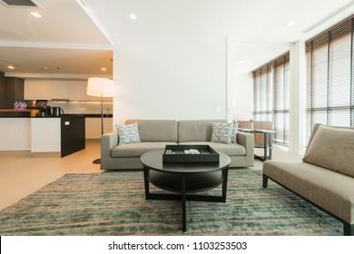 Living room interior in apartment.