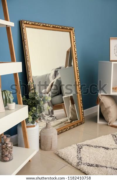 Living Room Interior Big Mirror Stylish Stock Photo (Edit ...