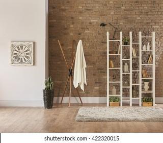 living room interior bookshelf behind natural brick wall concept with clock horizontal banner