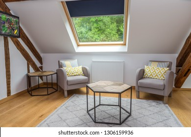 Living room interior with comfortable chair under a roof slope