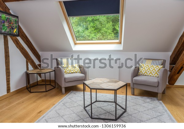 Living Room Interior Comfortable Chair Under Stock Photo ...