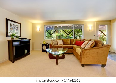 Living room interior design with large sofa, window and carpet.