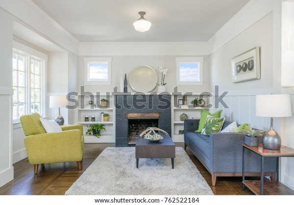 Living Room Interior Fire Place Hardwood Stock Photo Edit Now