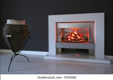 Living room interior with fireplace in contemporary home