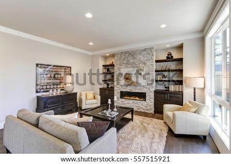 living room interior gray brown colors の写真素材 今すぐ編集