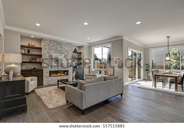 Grey And Brown Living Room >> Living Room Interior Gray Brown Colors Stock Photo Edit Now