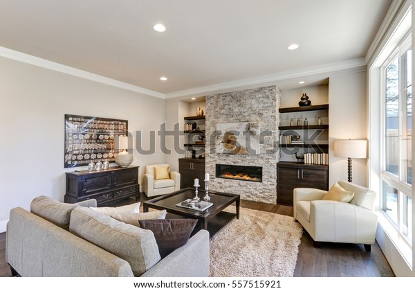 Cool Living Room Interior Gray Brown Colors Stock Photo Edit Now Machost Co Dining Chair Design Ideas Machostcouk