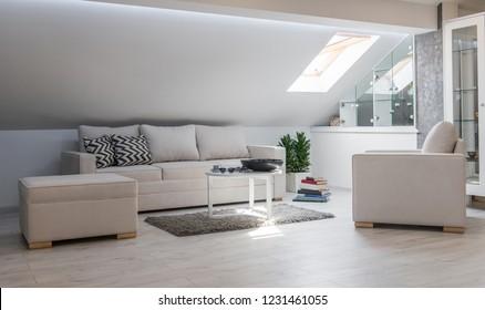 Living room interior in loft apartment, attic renovation
