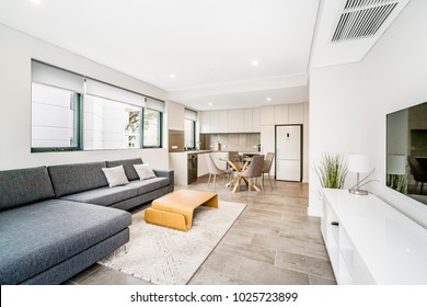 Living room interior in modern Australian home with coffee table and modern scandinavian decor.