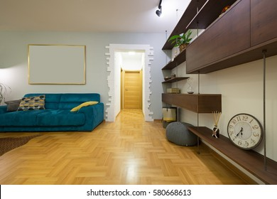 Living room interior with modern wooden shelf