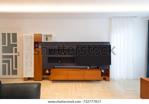 Living Room Interior Modern Wooden Tv Stock Photo Edit Now 732777817