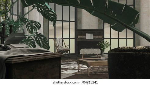 Living room interior Old style - 3D render