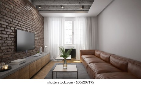 Living room interior in rustic style - 3 d render