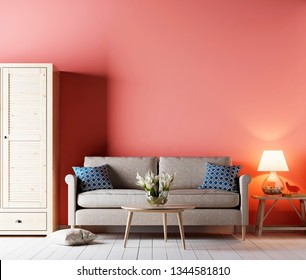 living room interior with sofa and cupboard, table and lamp, on living coral color of the Year 2019. 3d rendering
