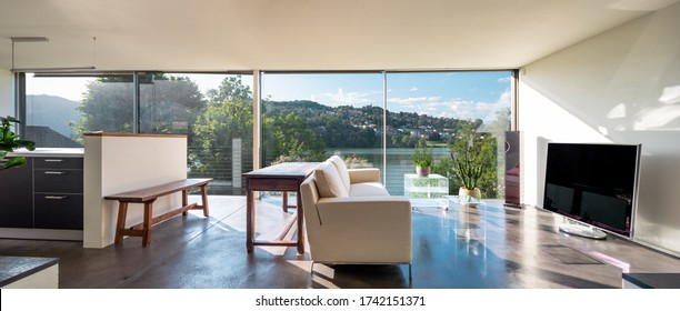 Living room interior with sofa and dream view